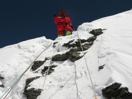 Fiona on top of the Geneva Spur. She climbed this with only one crampon. Photo Paul Adler.