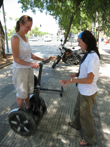 Fiona receives some instructions on how to use a Segway in Seville. Photo Paul Adler