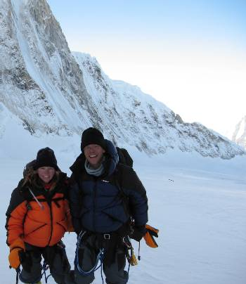 Fiona and Paul coming down the Western Cwm between C1 and C2 this morning. Photo Dasona Sherpa.