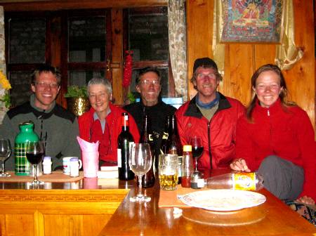 Paul, Mary, Dennis, Jim and Fiona enjoying a pre-dinner drink in our Lukla tea-house