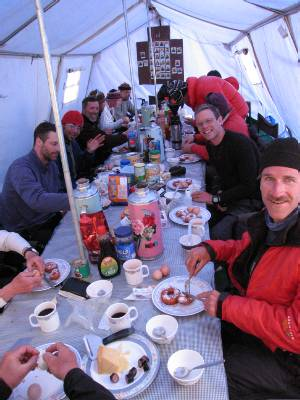 Breakfast in our base camp dining tent. Photo Fiona Adler