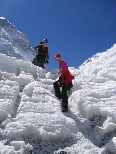 Mary climbs down part of the icefall after climbing up to meet us. Photo Fiona Adler
