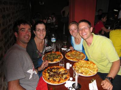 Enjoying Pizza in Kathmandu. We didn't realise how big they when we ordered one each!