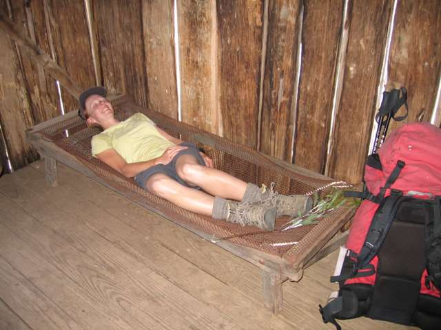 Crashing on a camp bed in an old mountain hut