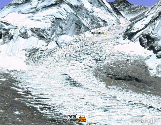 The Google Earth view of the icefall from basecamp. This is roughly what everyone at basecamp can see. From here you can't see the summit of Everest as its blocked by other mountains. Fiona Adler.