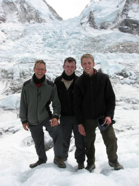 Paul, Tim & Dame at the crampon point this morning. The icefall is behind us. Photo Meagan McGrath