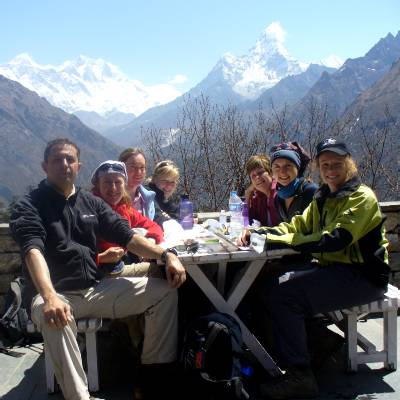 At the Everest View hotel - from left to right, Cas, Denise, Liz, Beck, Marg, Julia and Fiona. Photo Ang Nima.