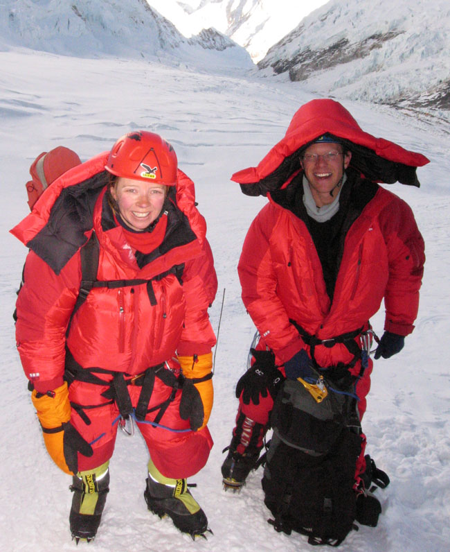 Fiona and Paul at the base of the Lhotse face in our Eider down suits. Picture Dasona Sherpa.