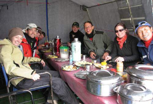 Lunch in the dining tent. Left to right, Reni, Attila, Damien, Rudi, Tim, Paul, Meagan, P Temba