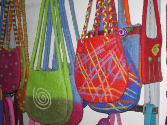 I saw these colorful handbags for sale in Thamel today. Photo Paul Adler.