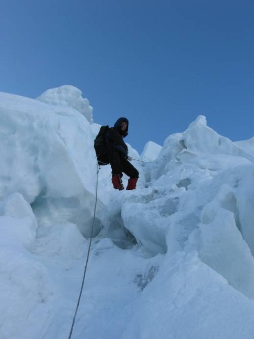 Paul climbs up through the icefall this morning, after the winds had subsided. Photo Atilla Jelenko.