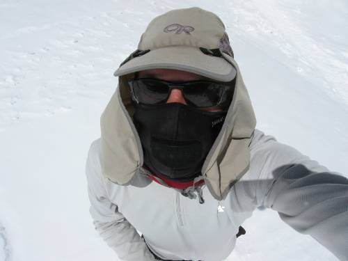 Out walking on the glacier today, fully protected against the harsh sun. I am wearing my Psolar mask. Photo Paul Adler.