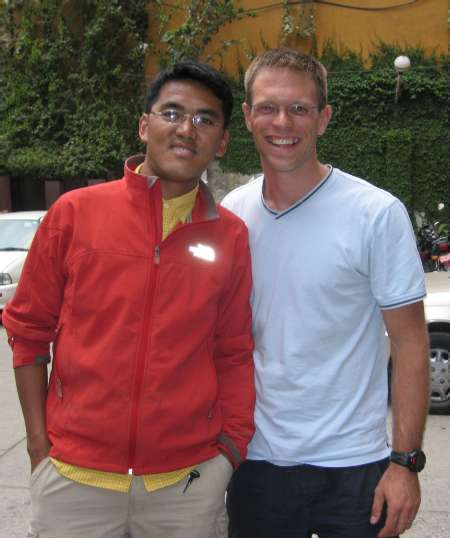 Paul with his climbing Sherpa, Lakpa, outside of hotel Vaishali this afteroon. Photo Atilla Jelenko