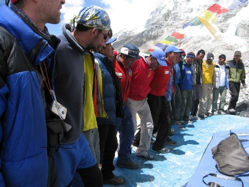 All the Sherpas and climbers lined up at today's Puja ceremony. Photo Paul Adler
